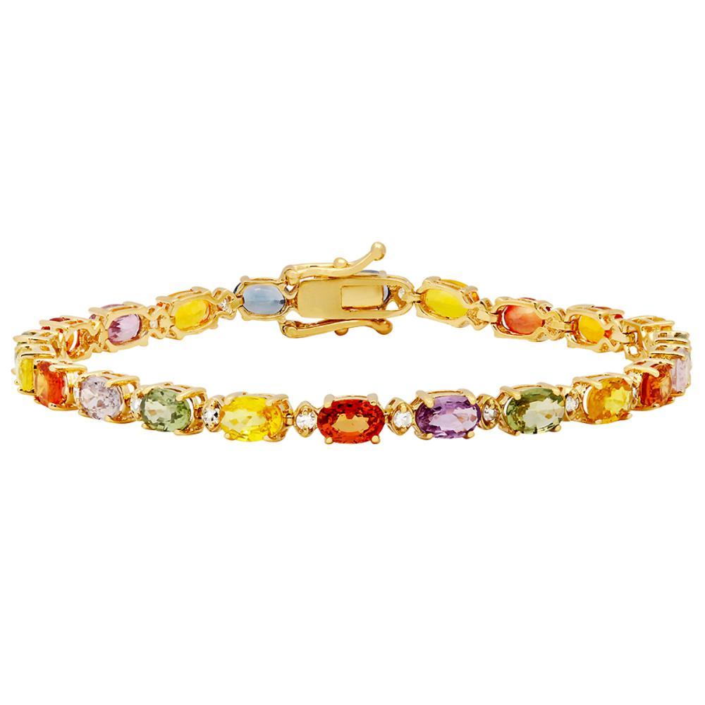 14k Yellow Gold 12.67ct Sapphire 0.47ct Diamond Bracelet