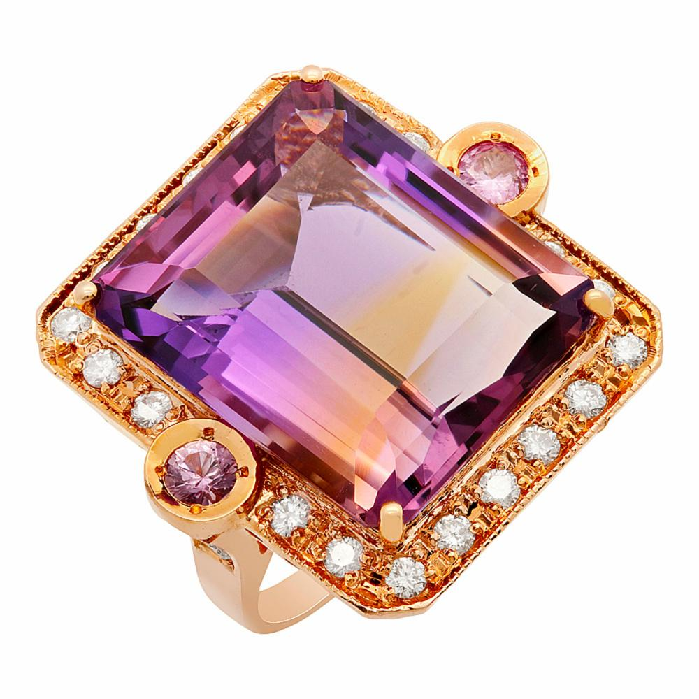 14k Rose Gold 25.80ct Amethyst 0.30ct Pink Sapphire 0.98ct Diamond Ring