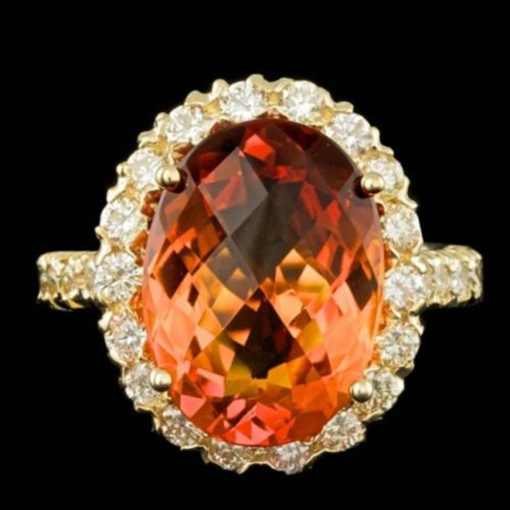 14K Yellow Gold 7.24ct Citrine and 1.32ct Diamond Ring