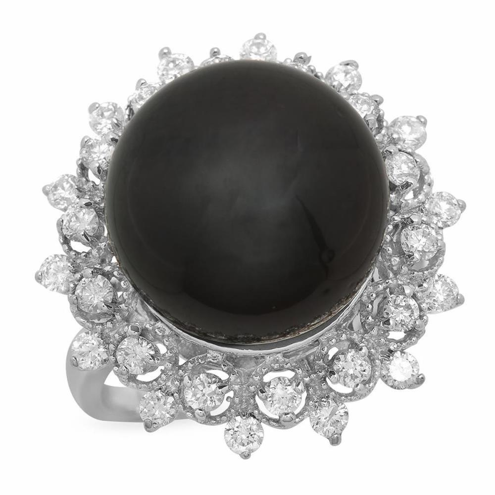 14K White Gold 14mm Black Tahitian Pearl and 0.78ct Diamond Ring