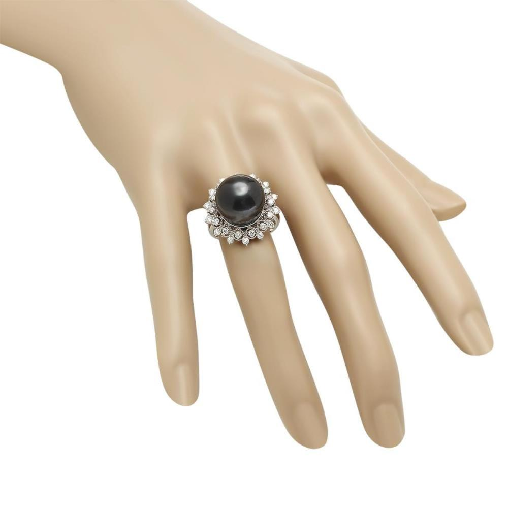 Lot 19: 14K White Gold 14mm Black Tahitian Pearl and 0.78ct Diamond Ring