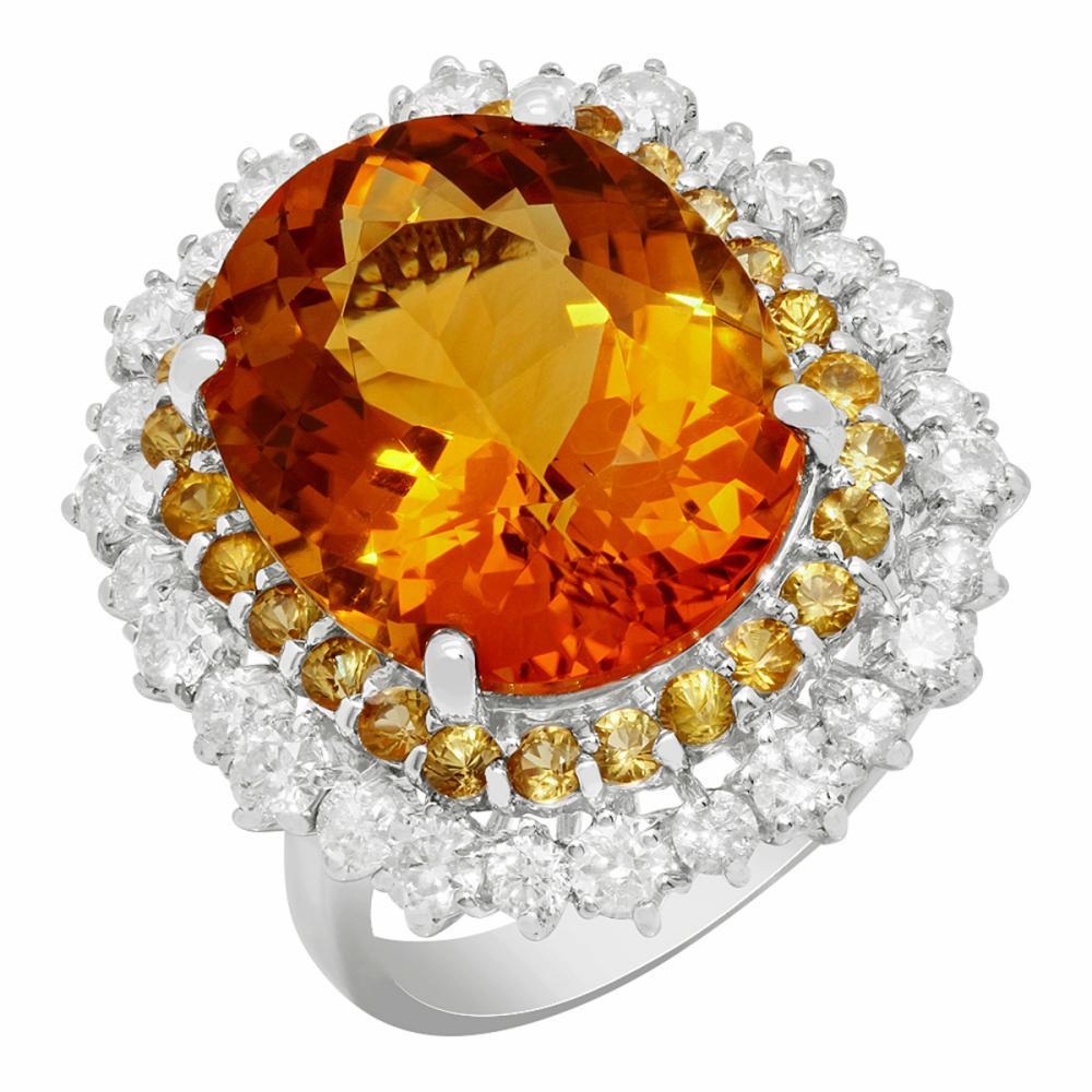 14k White Gold 10.36ct Citrine 1.00ct Yellow Sapphire 1.40ct Diamond Ring