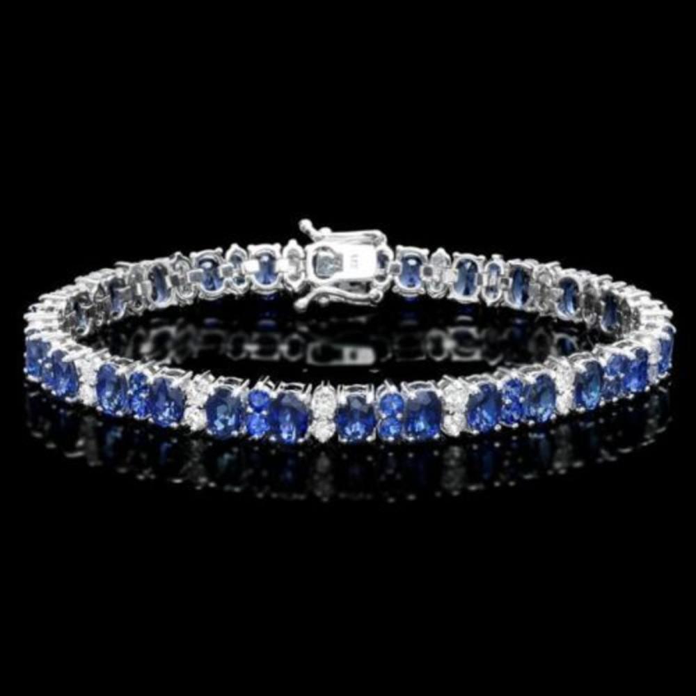 14K Gold 18.24ct Sapphire 1.87ct Diamond Bracelet