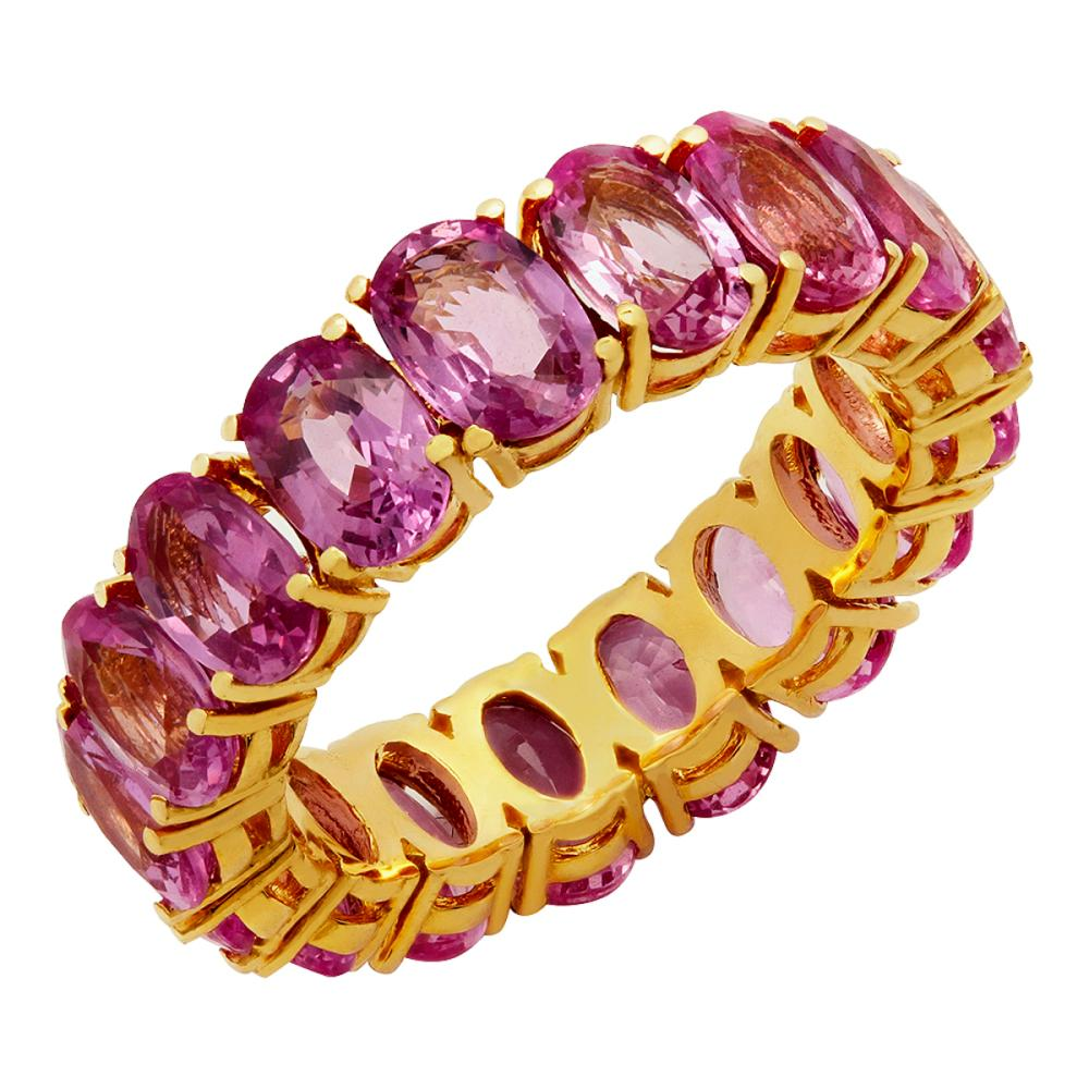 14k Yellow Gold 10.19ct Pink Sapphire Eternity Band