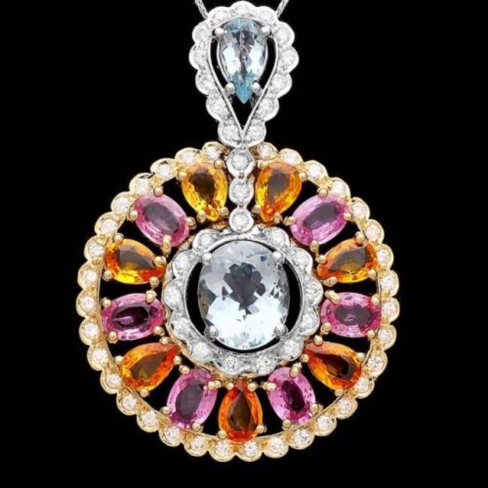14K Gold 5.21ct Aquamarine 11.07ct Sapphire and 1.78ct Diamond Pendant