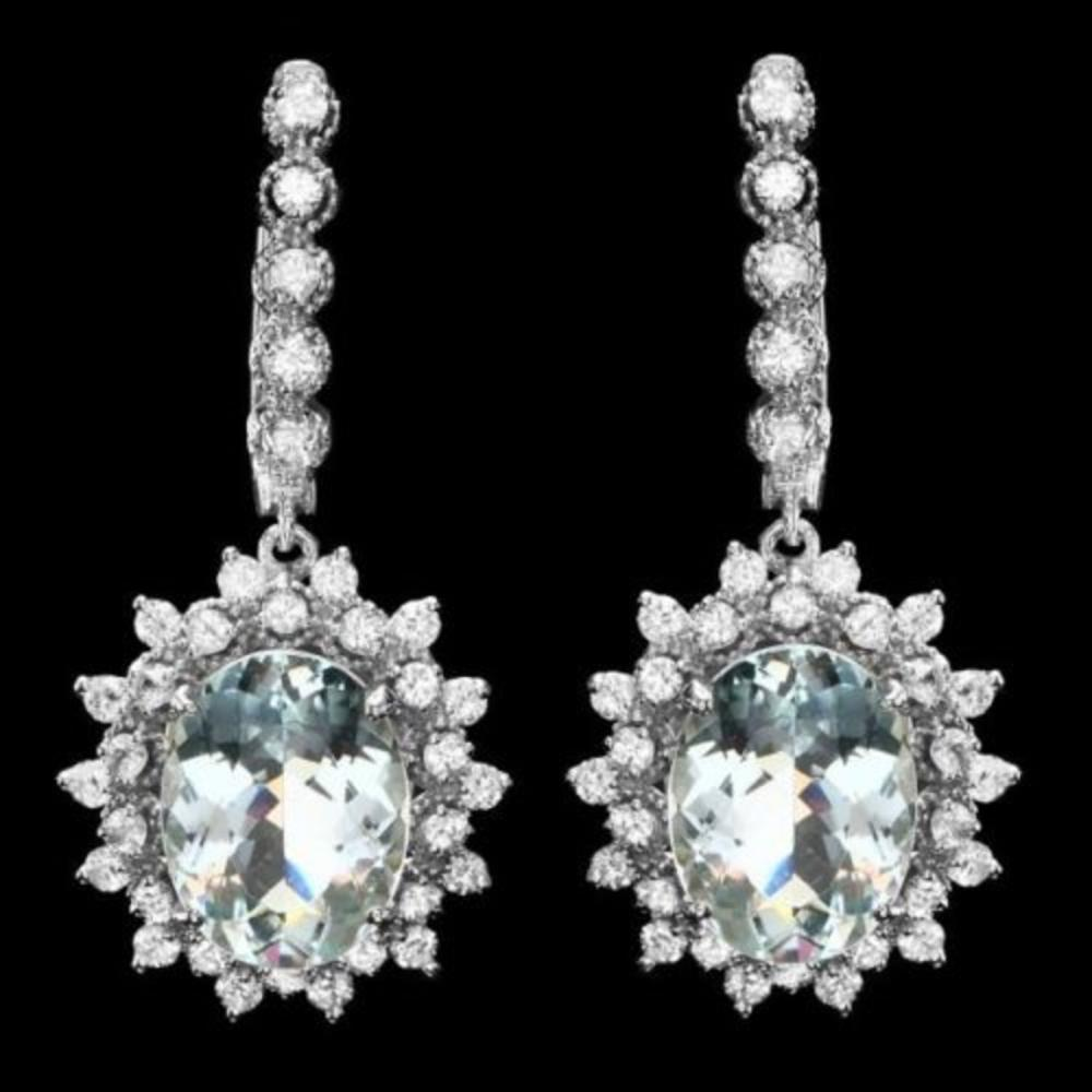 14k 8.17ct Aquamarine 2.08ct Diamond Earrings