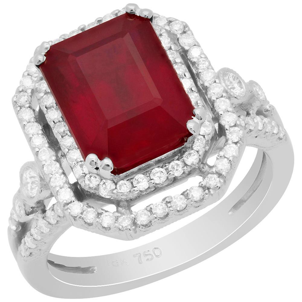 14k White Gold 5.32ct Ruby 0.63ct Diamond Ring