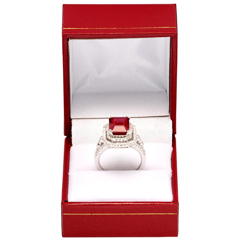 Lot 24: 14k White Gold 5.32ct Ruby 0.63ct Diamond Ring