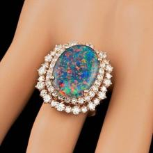 Lot 25: 14K Rose Gold 6.07ct Opal and 1.98ct Diamond Ring
