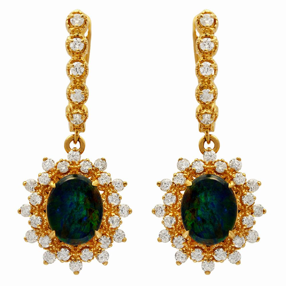 14k Yellow Gold 3.65ct Opal 1.59ct Diamond Earrings