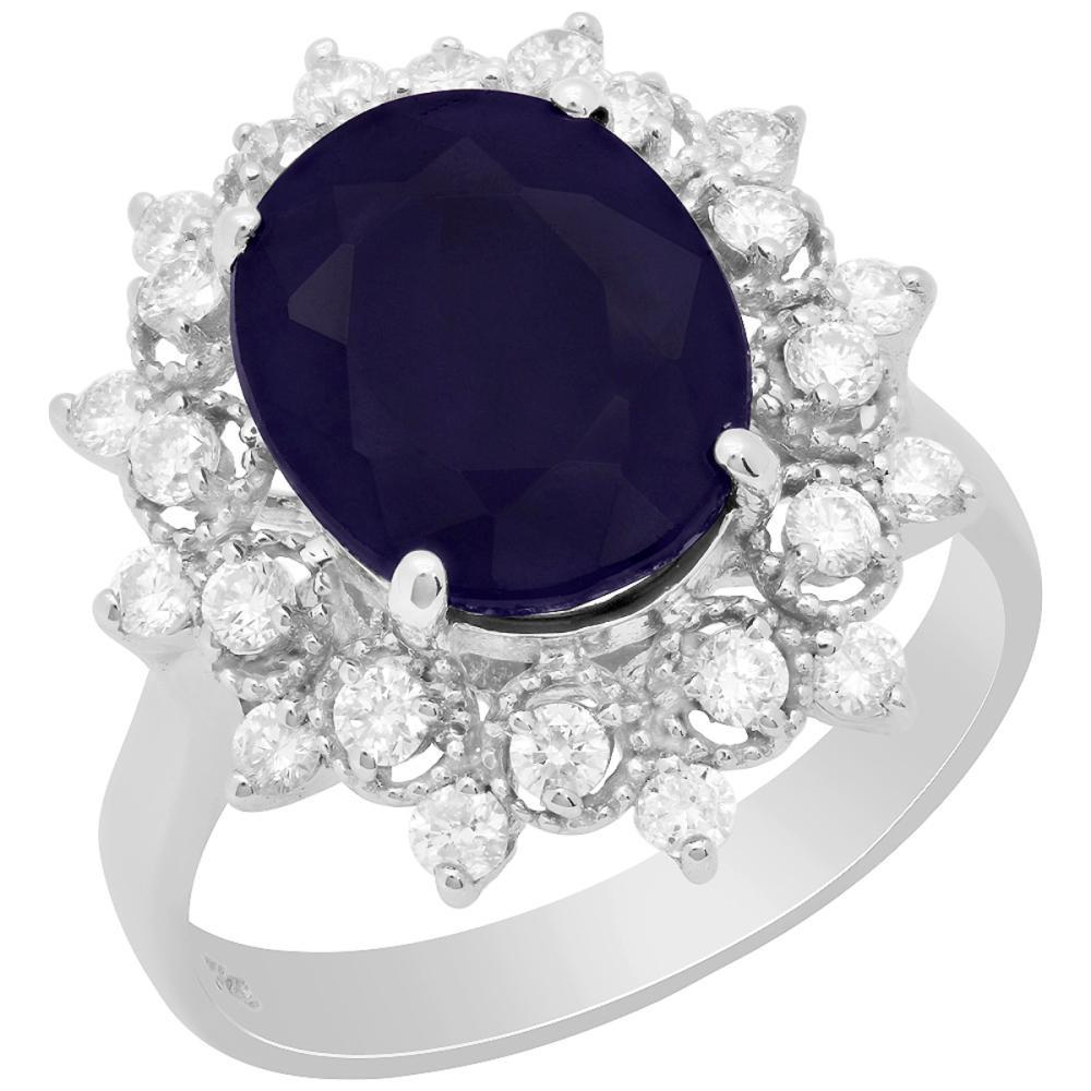 14k White Gold 5.28ct Sapphire 0.66ct Diamond Ring