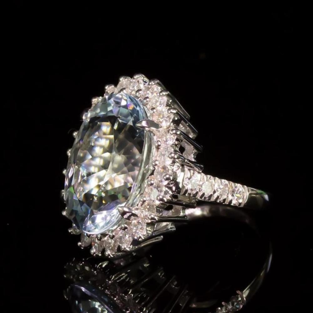 Lot 3: 14K White Gold 12.02ct Aquamarine 1.65ct Diamond Ring