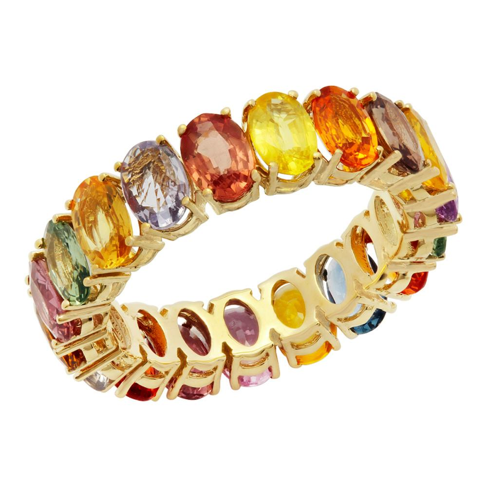14k Yellow Gold 9.65ct Sapphire Eternity Band