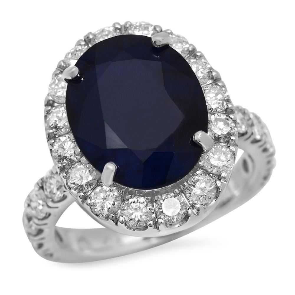14K White Gold 7.92ct Sapphire and 1.99ct Diamond Ring