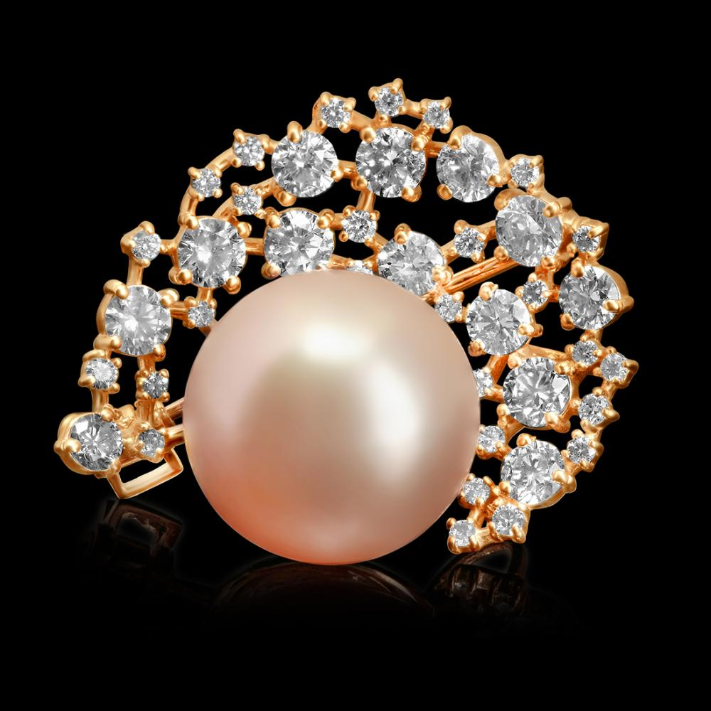14k Rose Gold 15mm South Sea Pearl 2.20ct Diamond Brooch