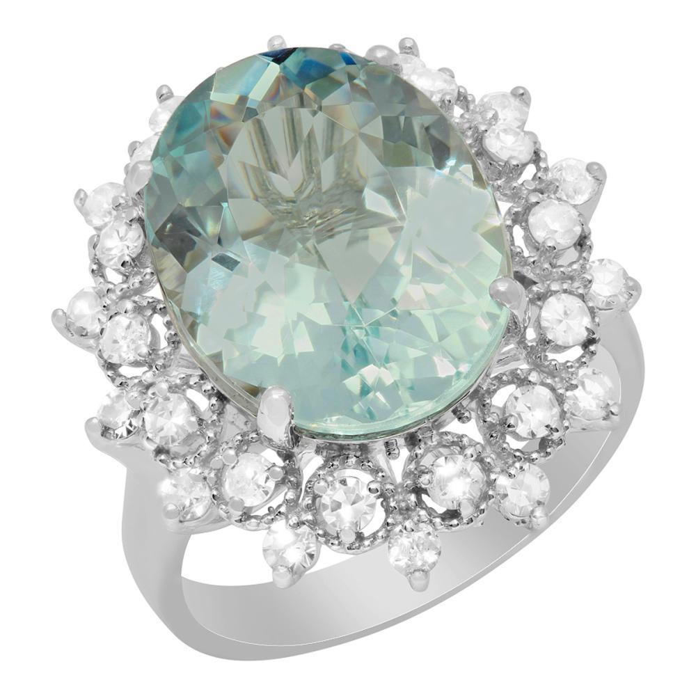 14k White Gold 7.06ct Aquamarine 0.74ct Diamond Ring