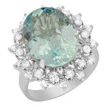 Lot 4: 14k White Gold 7.06ct Aquamarine 0.74ct Diamond Ring