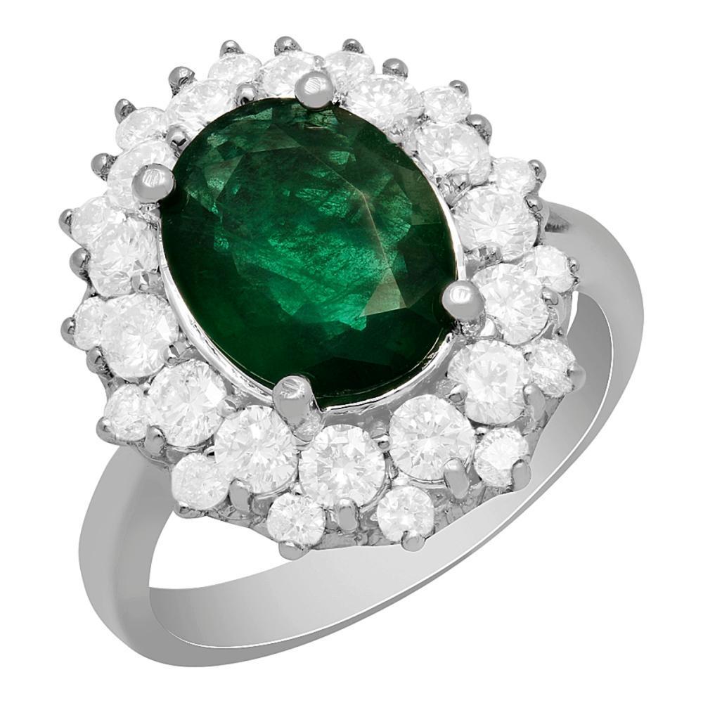 14k White Gold 2.10ct Emerald 1.61ct Diamond Ring