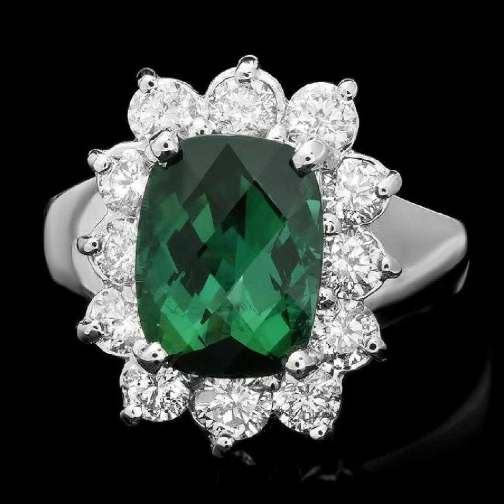 14K White Gold 2.77ct Tourmaline and 1.03ct Diamond Ring