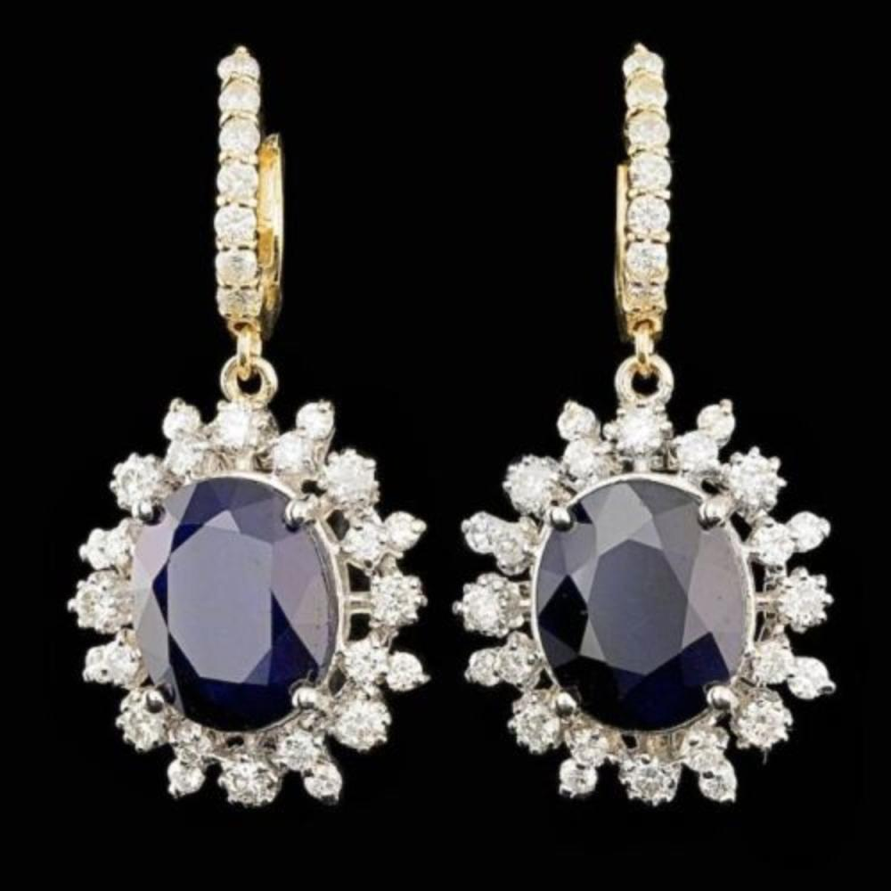 14K Yellow and White Gold 12.79ct Sapphire 2.27ct Diamond Earrings