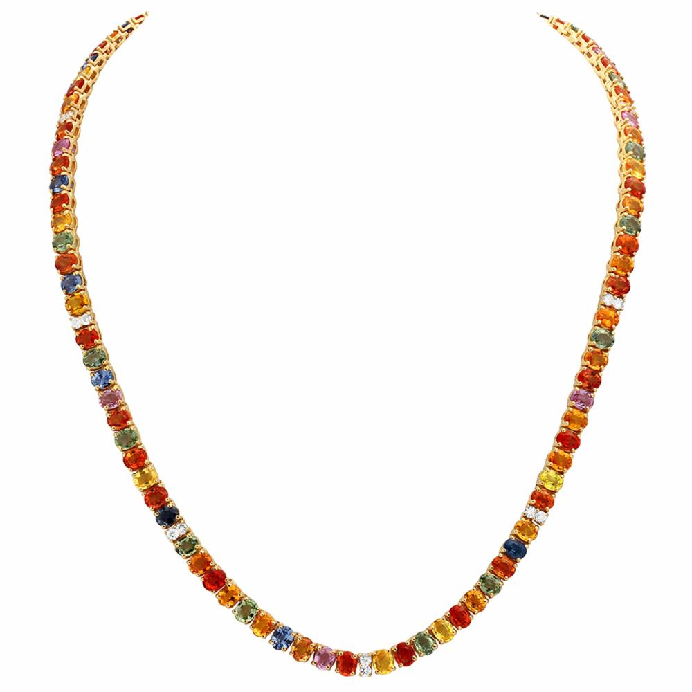 14k Yellow Gold 42.00ct Sapphire 1.00ct Diamond Necklace