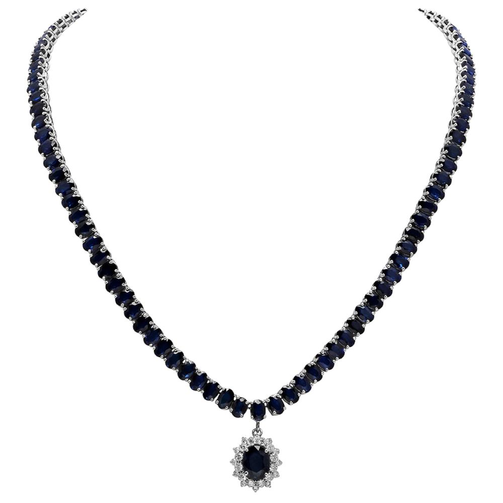 14k White Gold 2.25ct & 54.49ct Sapphire 0.85ct Diamond Necklace
