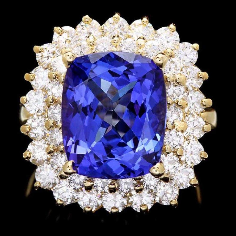 14K Yellow Gold 6.83ct Tanzanite and 2.48ct Diamond Ring