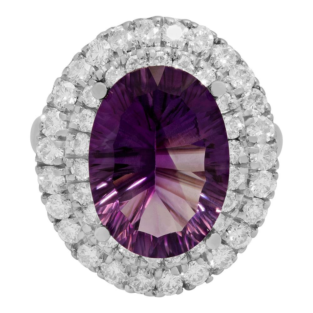 Lot 6: 14k White Gold 6.76ct Amethyst 1.67ct Diamond Ring