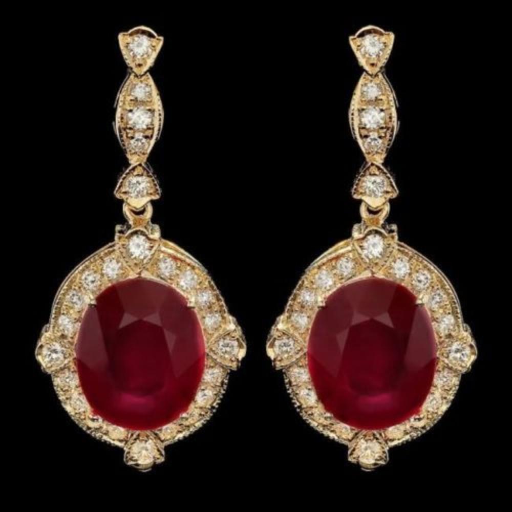 14k Gold 22.73ct Ruby 1.69ct Diamond Earrings