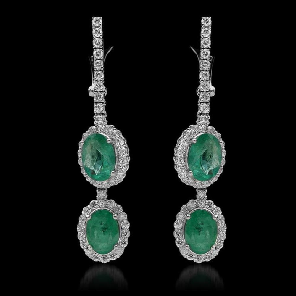 14K Gold 5.30ct Emerald & 2.01ct Diamond Earrings