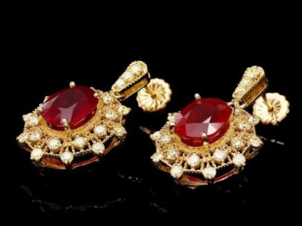 14k Gold 11.23ct Ruby 1.97ct Diamond Earrings