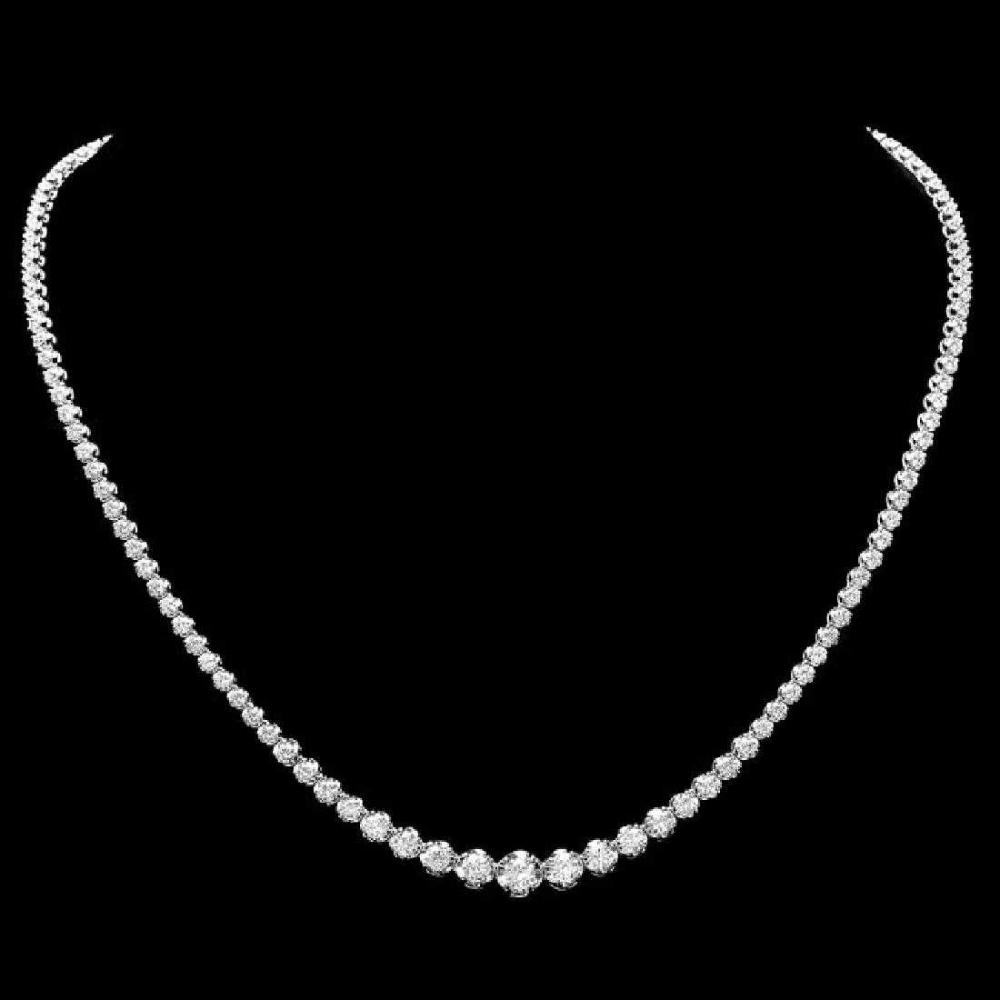 18K White Gold and 6.44ct Diamond Necklace
