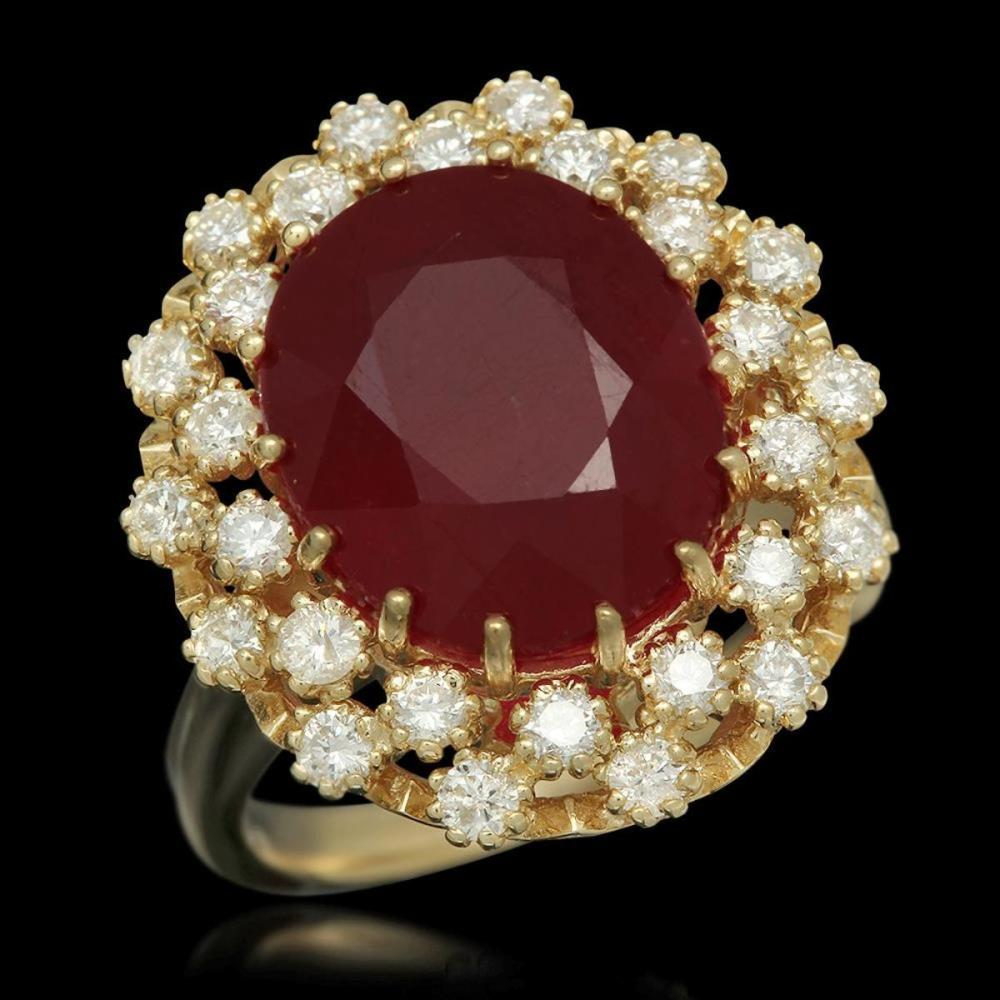 14K Yellow Gold 9.32ct Ruby and 1.01ct Diamond Ring