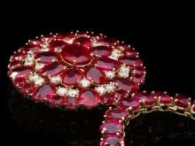 Lot 7: 14K Yellow Gold 94.35ct Ruby and 1.20ct Diamond Necklace