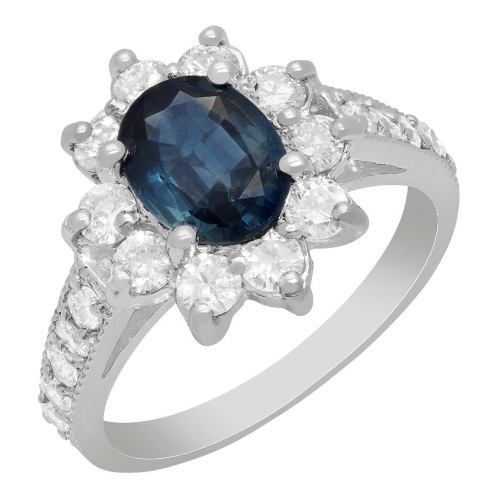 14k White Gold 1.41ct Sapphire 1.03ct Diamond Ring