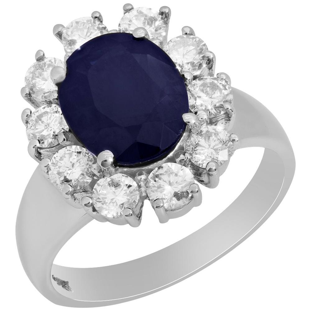 14k White Gold 2.96ct Sapphire 1.23ct Diamond Ring