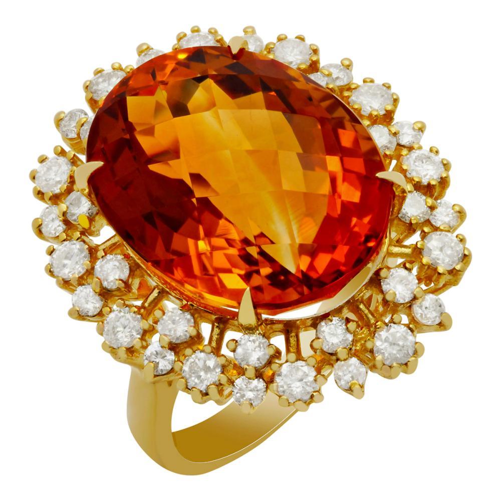 14k Yellow Gold 15.34ct Citrine 1.36ct Diamond Ring