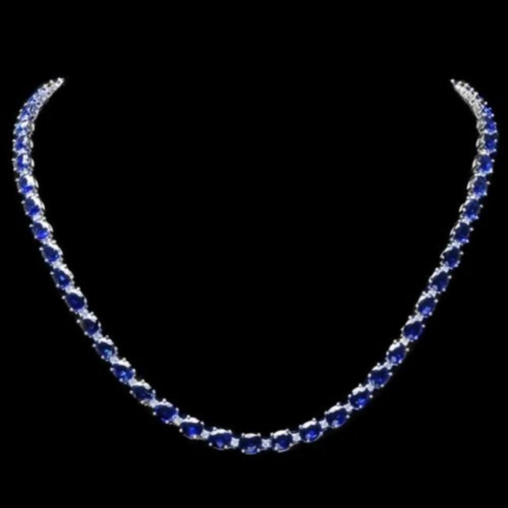 14K White Gold 28.57ct Sapphire and 1.62ct Diamond Necklace