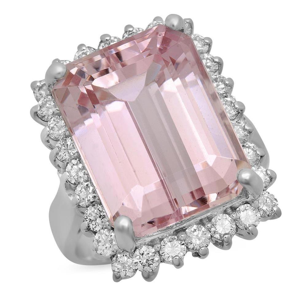 14K White Gold 16.13ct Kunzite and 1.13ct Diamond Ring