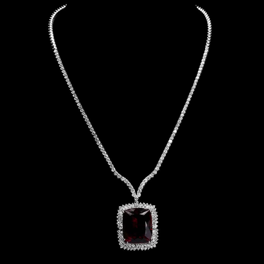 18k White Gold 33.36ct Tourmaline 7.35ct Diamond Necklace