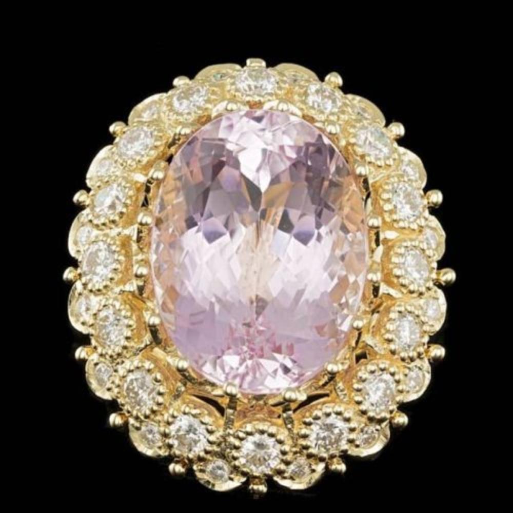 14K Yellow Gold 22.19ct Kunzite and 2.42ct Diamond Ring