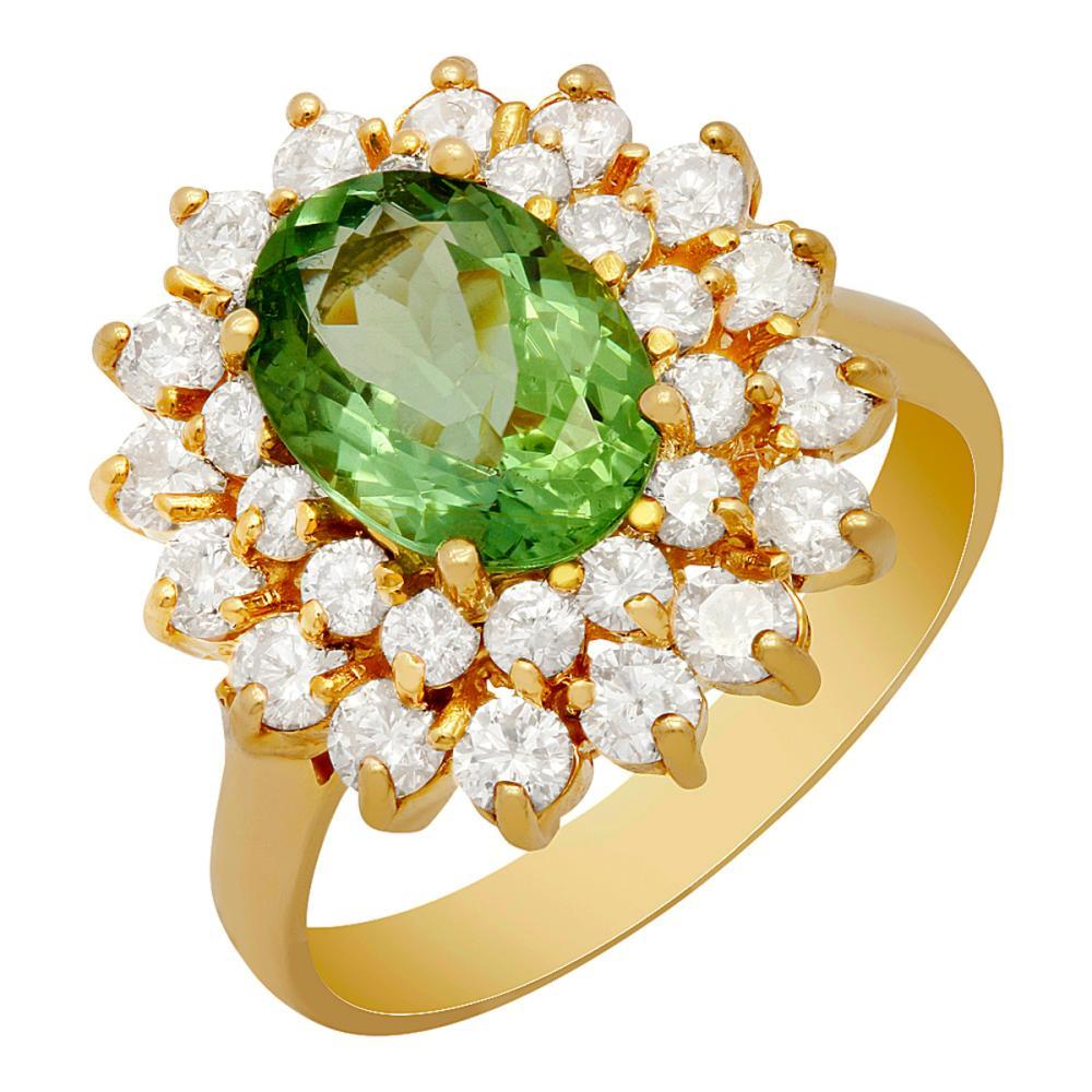 14k Yellow Gold 1.92ct Green Tourmaline 1.44ct Diamond Ring