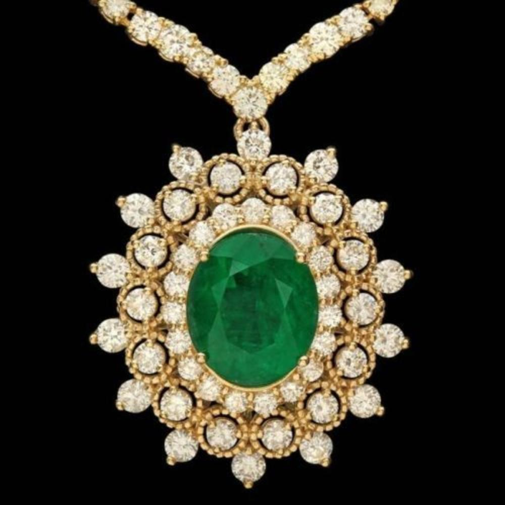 18K Gold 3.73ct Emerald 10.94ct Diamond Necklace