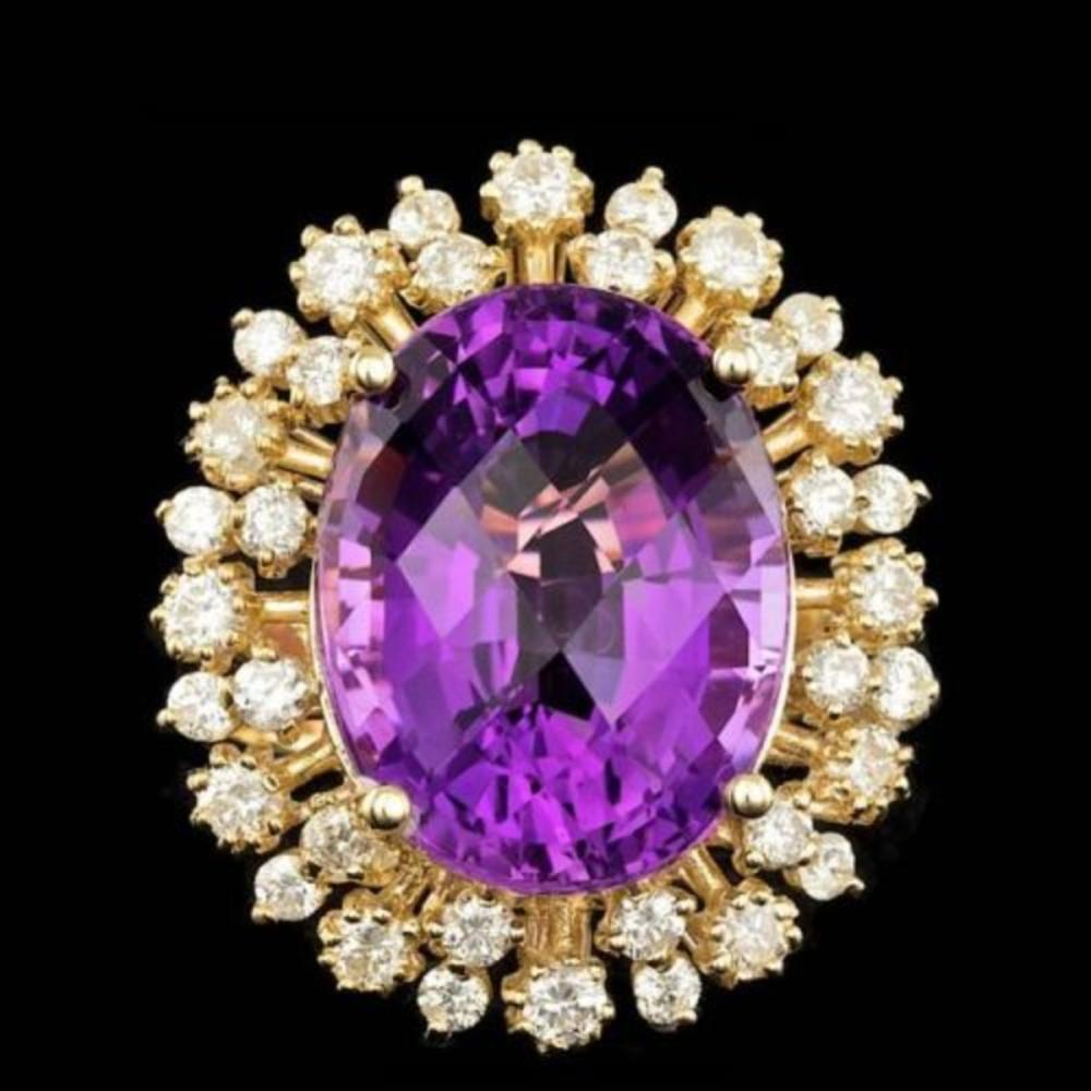 14K Yellow Gold 13.89ct Amethyst and 1.54ct Diamond Ring