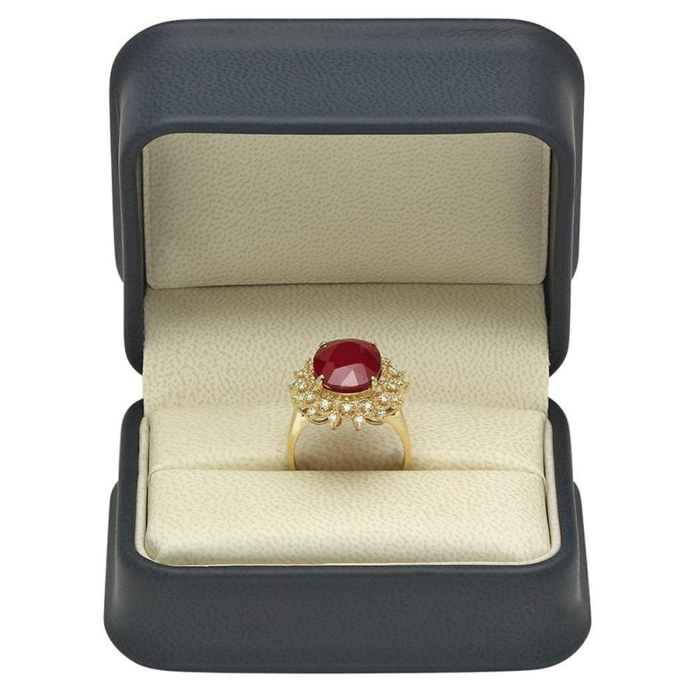 Lot 9: 14K Yellow Gold 8.39ct Ruby and 0.53ct Diamond Ring
