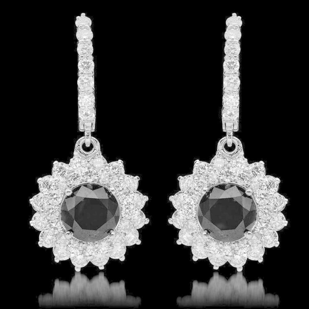14k Gold 4.52ct Fancy Color Diamond & 2.92ct Diamond Earrings