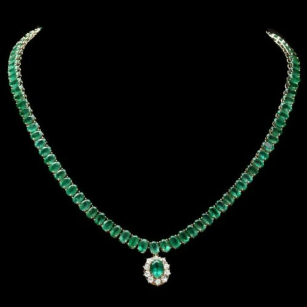 14K Yellow Gold 43.55ct Emerald and 0.50ct Diamond Necklace