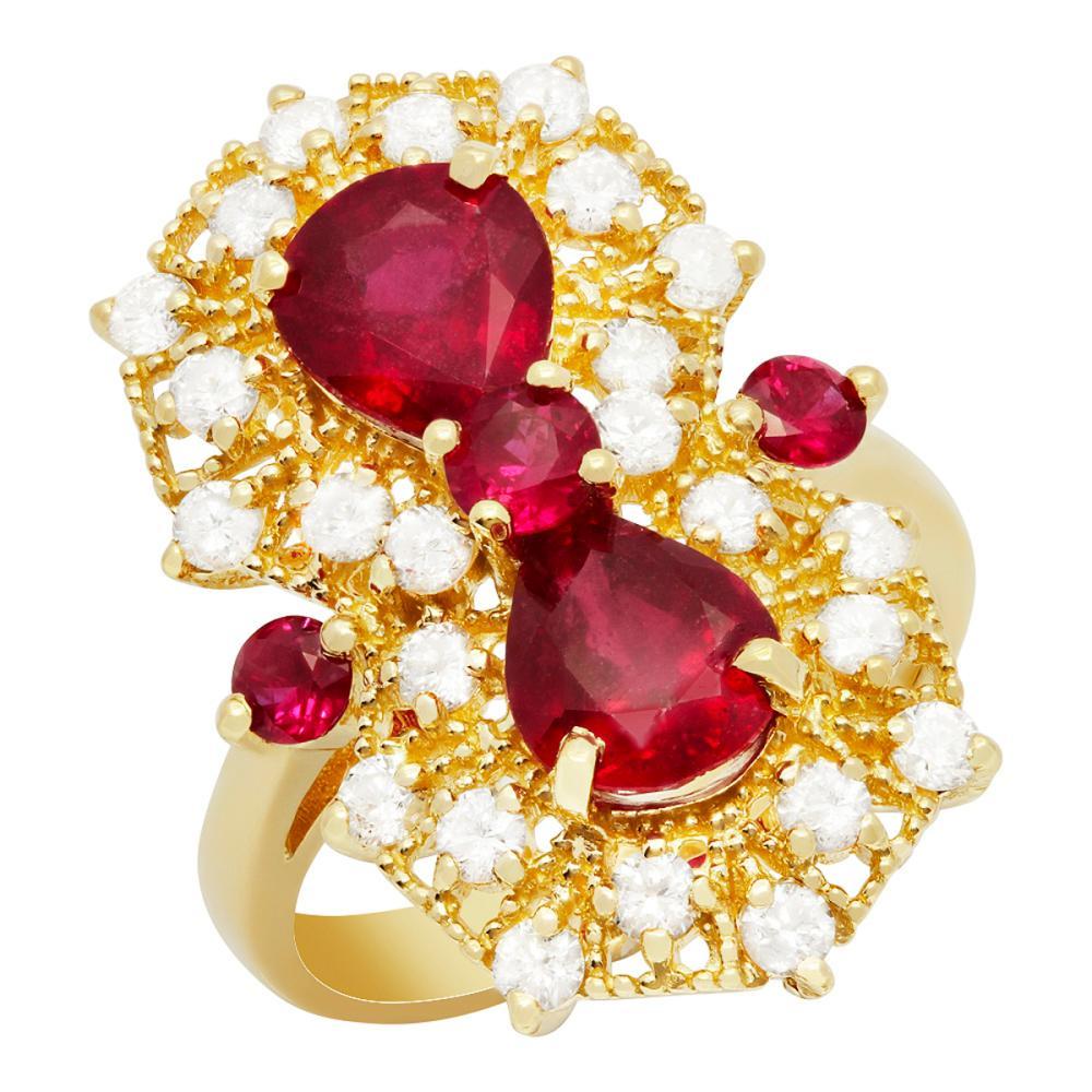 14k Yellow Gold 3.21ct & 0.51ctct Ruby 1.04ct Diamond Ring