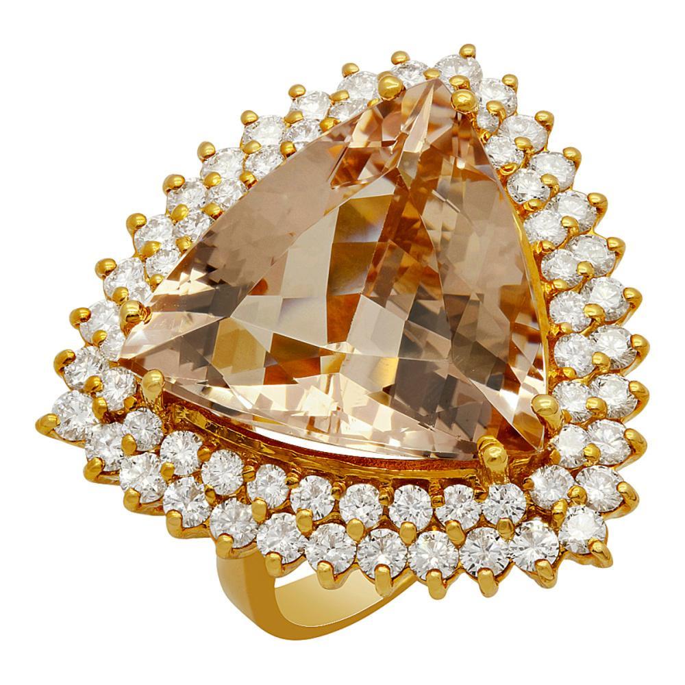 14k Yellow Gold 13.85ct Morganite 2.19ct Diamond Ring