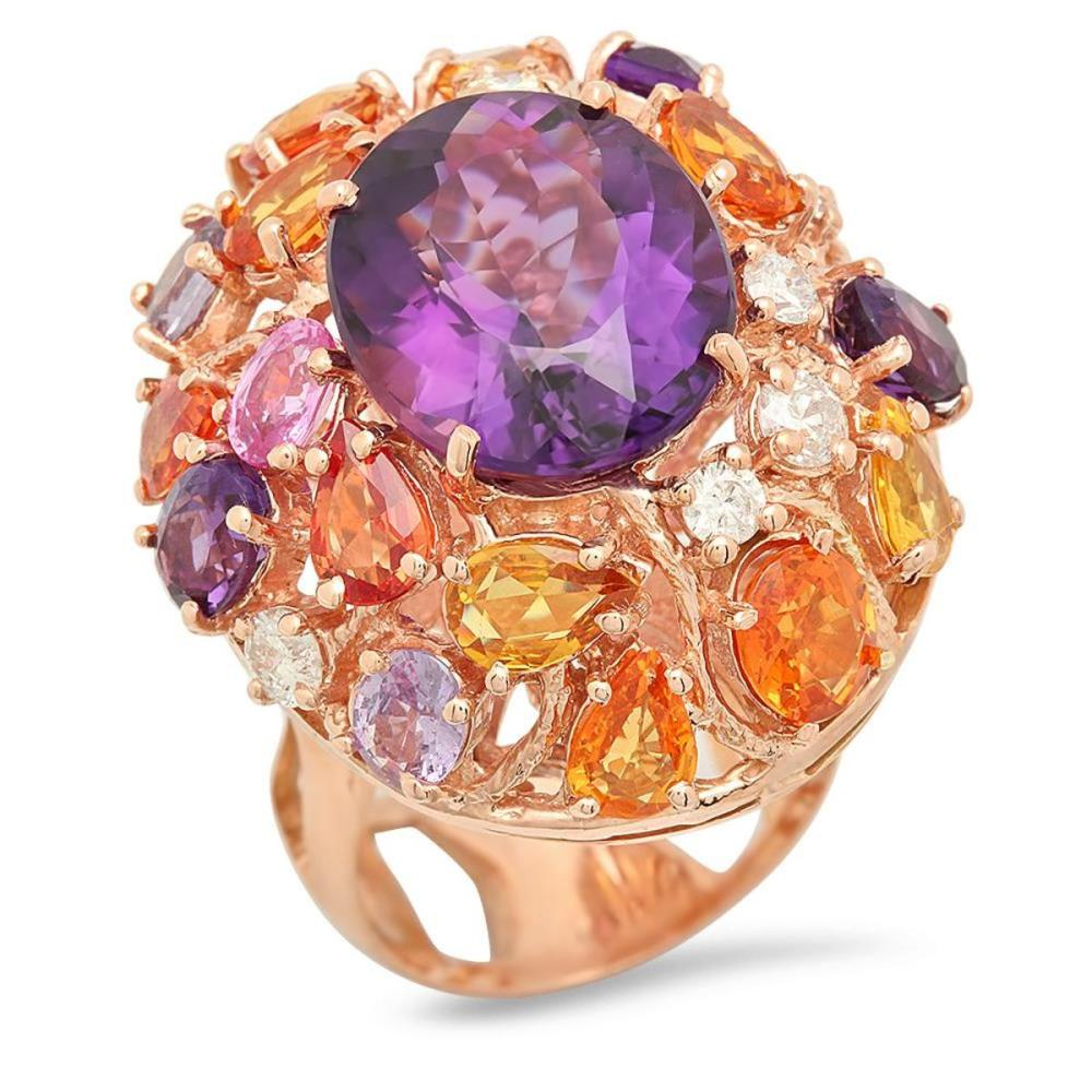 14K Rose Gold 8.55ct Amethyst 6.46ct Sapphire and 0.79ct Diamond Ring